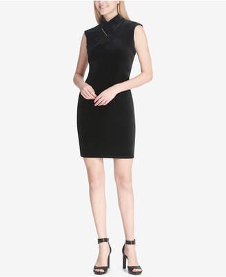 Calvin Klein Mock-Neck Velvet Sheath Dress