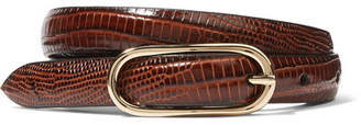 Andersons Anderson's - Croc-effect Leather Belt - Burgundy