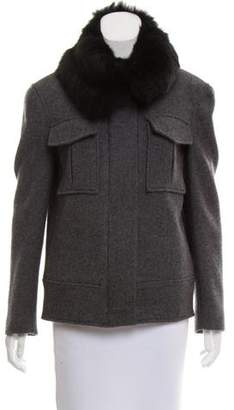 Theory Shearling-Trimmed Wool Jacket