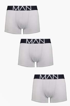 boohoo 3 Pack Grey Man Contrast Waist Band Boxers