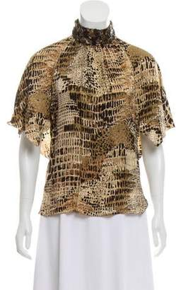 Andrew Gn Leather-Accented Silk Top