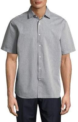 Black & Brown Black Brown Seersucker Slim-Fit Short-Sleeve Shirt