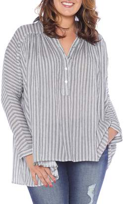 SLINK Jeans Stripe Babydoll High/Low Top