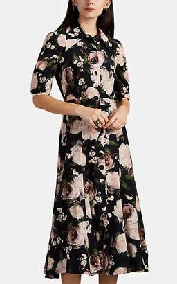 Erdem Women's Gisella Painted Floral Silk Satin Shirtdress - Black Multi