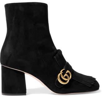 Gucci Fringed Logo-embellished Suede Ankle Boots - Black