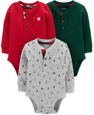 Carter's Carter Baby Boys 3-Pk. Cotton Thermal Holiday Bodysuits