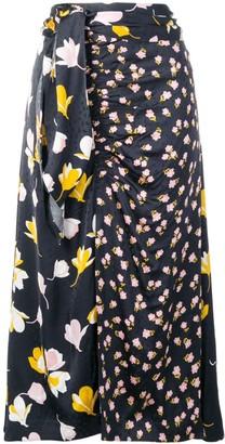 Self-Portrait floral wrap detail skirt