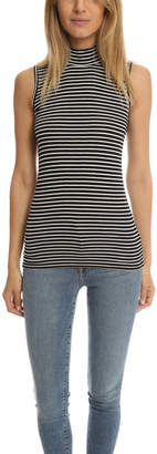 Warehouse ATM Striped Sleeveless Mock Neck Tank