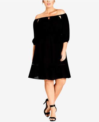 City Chic Trendy Plus Size Off-The-Shoulder Peasant Dress