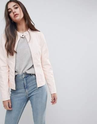 Vila Leather Look Collarless Jacket