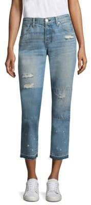 Amo Distressed Patched Tomboy Cropped Jeans