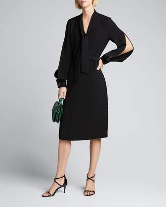 Lafayette 148 New York Genevive Split Sleeve Finesse Crepe Belted Dress
