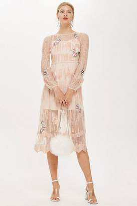 Topshop Peacock Embroidered Dress