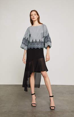 BCBGMAXAZRIA Asymmetrical Ruffle-Trimmed Skirt
