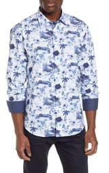 Bugatchi Shaped Fit Tropical Print Shirt
