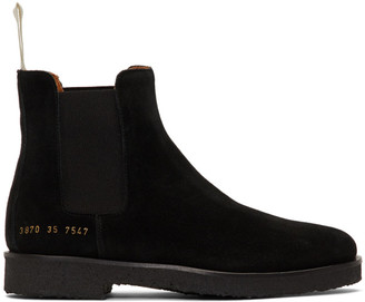 Common Projects Woman By Woman by Black Suede Chelsea Boots