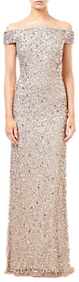 Adrianna Papell Off Shoulder Crunchy Bead Dress, Champagne