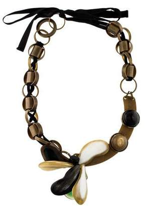Marni Horn Floral Collar Necklace