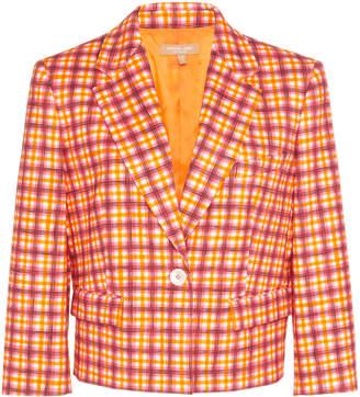Michael Kors One-Button Cotton-Blend Grid Jacket