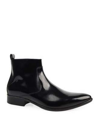 CNC Costume National Men's Patent Leather Side-Zip Ankle Boots