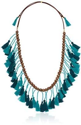Panacea Women's Wood Bead Teal Turquoise Tassel Necklace