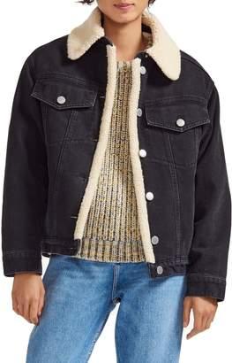 Maje Faux Shearling Denim Jacket