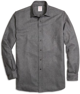 Brooks Brothers Madison Fit Saxxon Wool Glen Plaid Sport Shirt