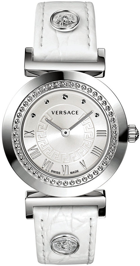 Versace Watch, Women's Swiss Vanity White Croco Calfskin Leather Strap 35mm P5Q99D001 S001