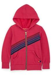 Aviator Nation Kids' Striped Cotton-Blend Fleece Hoodie - Pink