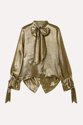 Roland Mouret Royce Pussy-bow Cutout Metallic Silk-blend Blouse - Gold