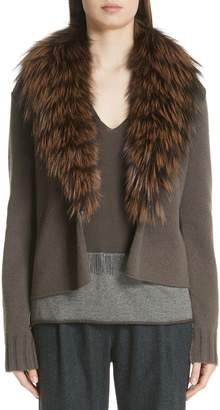 Fabiana Filippi Cashmere Cardigan with Removable Genuine Fox Fur Collar
