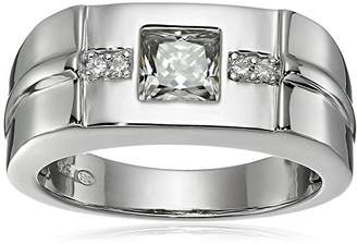 VG Men's Platinum Plated Sterling Silver Moissanite Wedding Band Ring