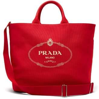 Prada Logo Cotton Canvas Tote - Womens - Red