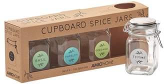 Amici Home Cupboard Spice Hermetic Preserving Jar, Set of 4, 11 oz
