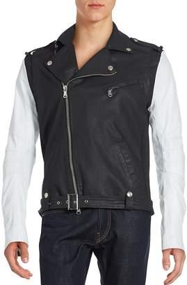 Pierre Balmain Men's Two-Tone Asymmetrical Zip Moto Jacket