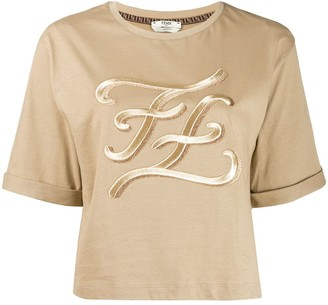 Fendi karligraphy logo t-shirt