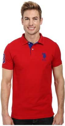 U.S. Polo Assn. Slim Fit Big Horse Polo w/ Stripe Collar Men's Short Sleeve Pullover
