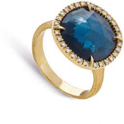 Marco Bicego Jaipur Medium 18k London Blue Topaz & Diamond Cocktail Ring