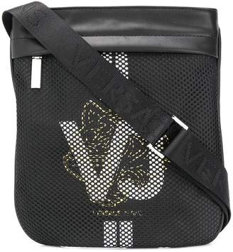 Versace logo print mesh messenger bag