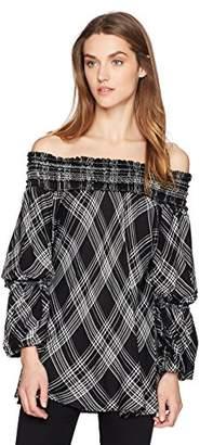 Max Studio MAXSTUDIO Women's Off The Shoulder Flared Sleeve Plaid Blouse