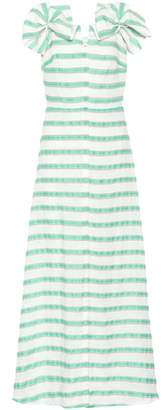 DELPOZO Striped linen-blend dress