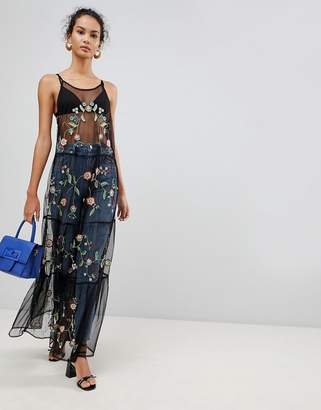 Glamorous Embroidered Mesh Maxi Dress