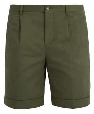 Éditions M.R editions M.r - Pleated Front Slim Leg Cotton Shorts - Mens - Green