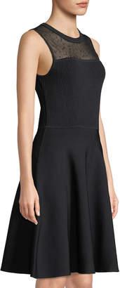 Jason Wu Dotted-Lace Neck Sleeveless Fit-and-Flare Viscose Knit Dress