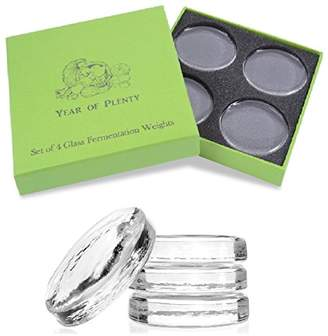 Year of Plenty Set of 4 Fermentation Weights for Use in All Wide Mouth Mason Jars for Fermenting Sauerkraut