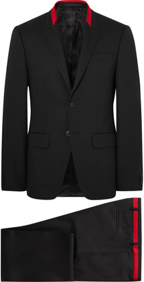 Givenchy Black Slim-Fit Contrast-Tipped Wool-Blend Suit $2,120 thestylecure.com