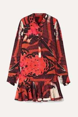 Alexander McQueen Fluted Printed Silk Crepe De Chine Mini Dress - Red