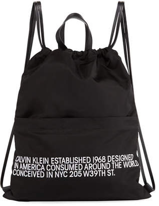 Calvin Klein Men's Logo Typographic Drawstring Sling Backpack