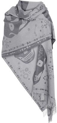 Alexander McQueen - Wool-jacquard Wrap - Gray $635 thestylecure.com