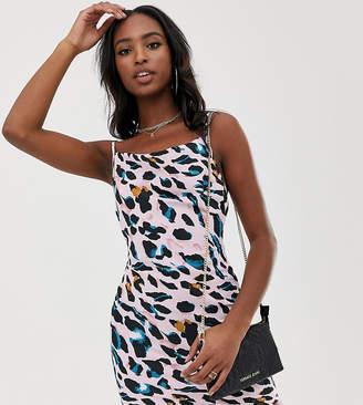 Missguided Tall cami mini dress in pink leopard